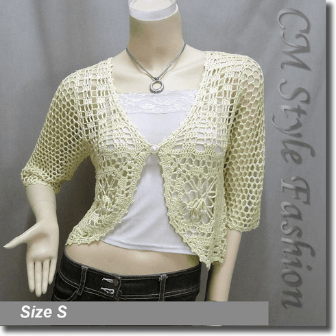 Crochet Silvery Thread Beaded Bolero Top Yellow