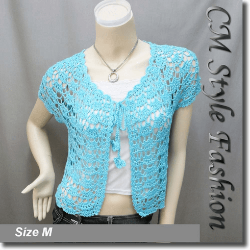 Crochet Silvery Thread Front Tie Shrug Bolero Blue