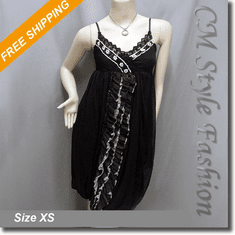 Cross Bust Lace Ruffle Beaded Chiffon Slip Dress Black
