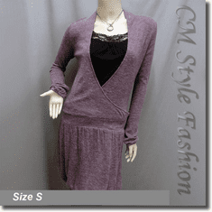 Crossover Low Waist Tunic Dress with Black Lace Camisole Top Purple