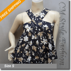 Cute Floral Babydoll Swing Camisole Blouse Top Blue
