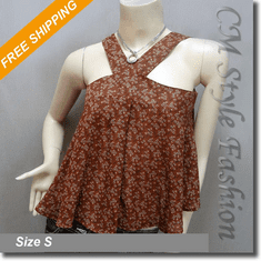 Cute Floral Babydoll Swing Camisole Blouse Top Brown