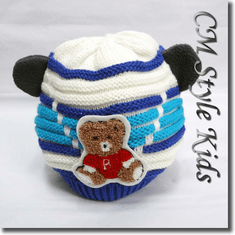 Cutie Bear Long Tail Knit Baby Toddler / Kids Hat Blue White