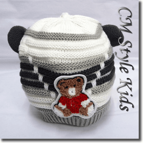 Cutie Bear Long Tail Knit Baby Toddler / Kids Hat Gray White