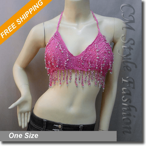 Dancing Crochet Dangling Sequin Bead Bra Top Pink