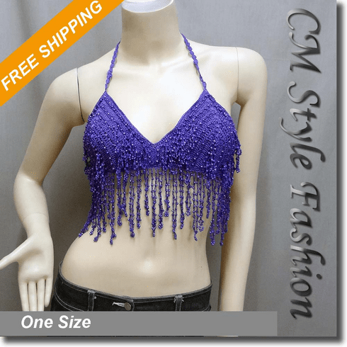 Dancing Crochet Dangling Sequin Bead Bra Top Purple