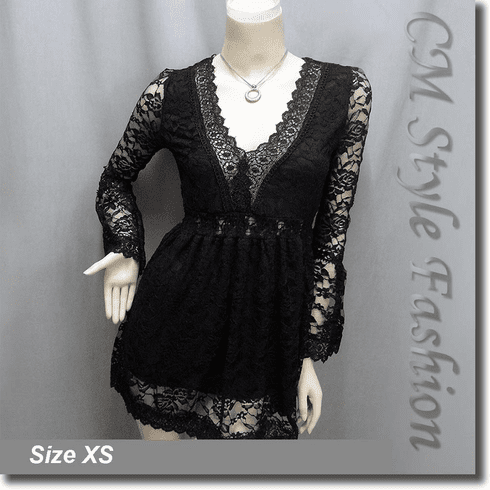 Deep V Neckline Sexy Lace Lady Tunic Top Black