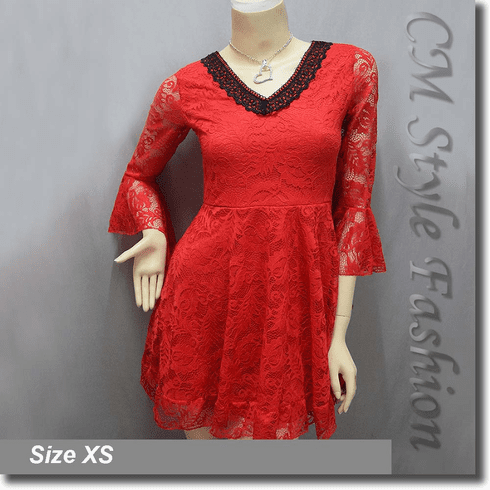 Deep V Neckline Sexy Lace Lady Tunic Top Red