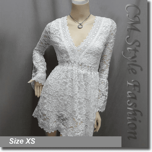 Deep V Neckline Sexy Lace Lady Tunic Top White