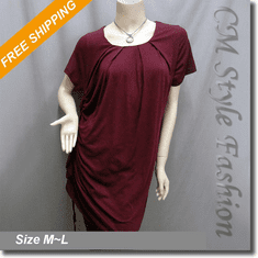 Drawstring Ruched Funky Smock Tunic Dress Burgundy
