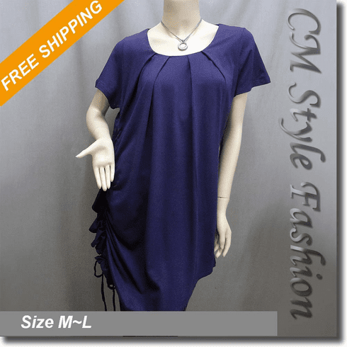Drawstring Ruched Funky Smock Tunic Dress Purple