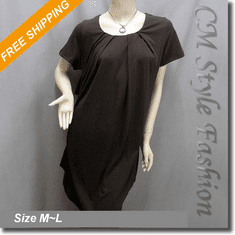 Drawstring Ruched Funky Smock Tunic Dress Top Brown