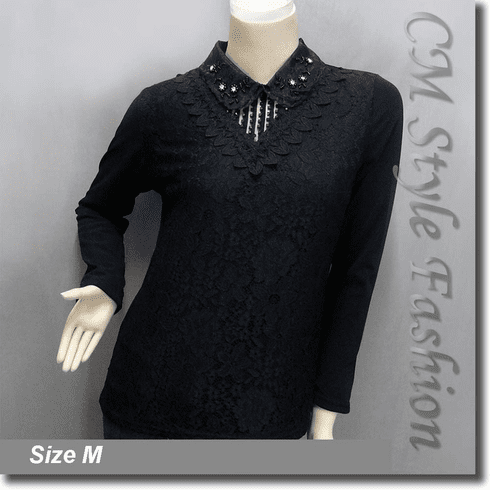 Dual Layered Beaded Sequined Collar Lace Blouse Top Black