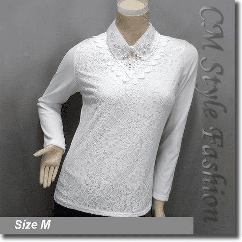 Dual Layered Beaded Sequined Collar Lace Blouse Top White