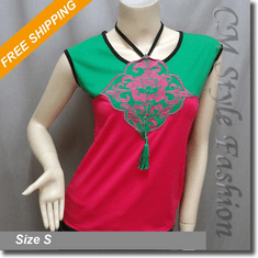 Dual Tone Oriental Embroidery Tee Blouse Top Green Pink