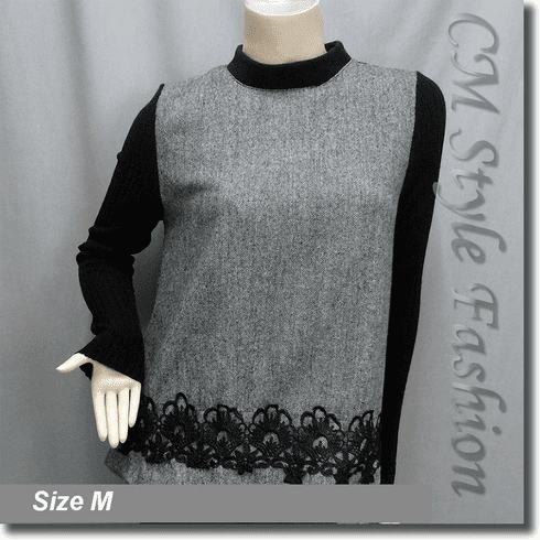 Duo Tone Crochet Trimmed Boho Blouse Top Black Gray