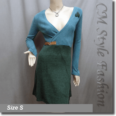 Duo Tone Cross Bust Frock Dress Aqua Green