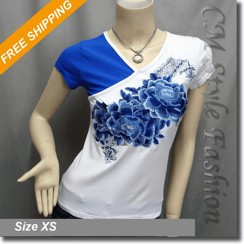 Duo Tone Floral Embroidery Tee Blouse Top Blue White