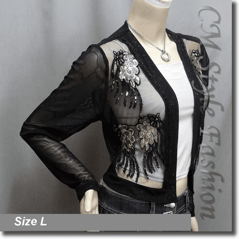 Elegant Beaded Sequin Embroidered Evening Bolero Shrug Top Black