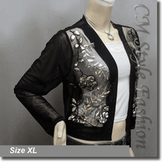 Elegant Beaded Sequined Embroidered Evening Bolero Shrug Cardigan Top Black