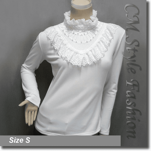 Elegant Mock Neck Lace Trimmed Ruffled Applique Beaded Blouse Top Off White