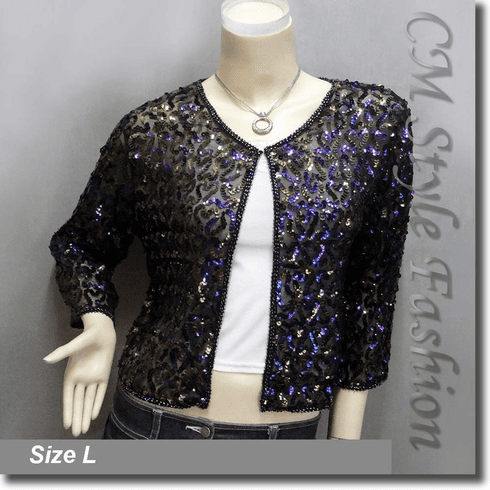 Elegant Sequin Embroidered Bolero Shrug Top Black