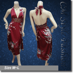 Elegant Sexy Halter Floral Satin Dress Burgundy w/ Belt