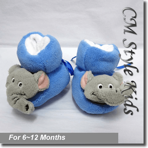 Elephant Bootie Socks / Slippers for Baby Pre-walker Blue Gray