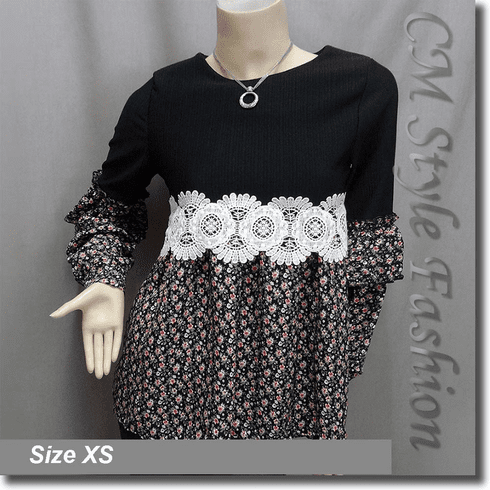 Empire Patchwork Floral Smock Tunic Top Black