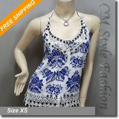 Ethnic Beaded Crochet Trim Patterned Halter Tank Top White Blue