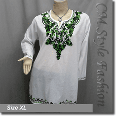 Ethnic Embroidery Bohemian Kaftan Tunic Top White Green