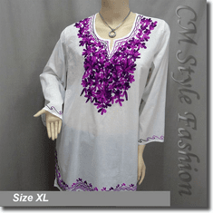 Ethnic Embroidery Bohemian Kaftan Tunic Top White Purple