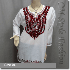 Ethnic Embroidery Bohemian Kaftan Tunic Top White Red