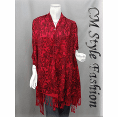 Ethnic Paisley Print Scarf Shawl Wrap Red
