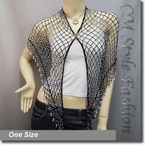 Exotic Crochet Net Triangular Shawl Wrap Shawl Scarf Black w Silvery Beads