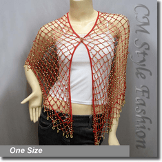 Exotic Crochet Net Triangular Shawl Wrap Shawl Scarf Red w Golden Beads