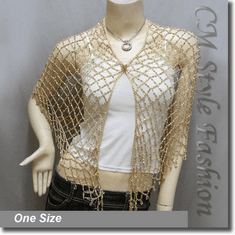 Exotic Crochet Net Triangular Shawl Wrap Shawl Scarf w Beads Golden