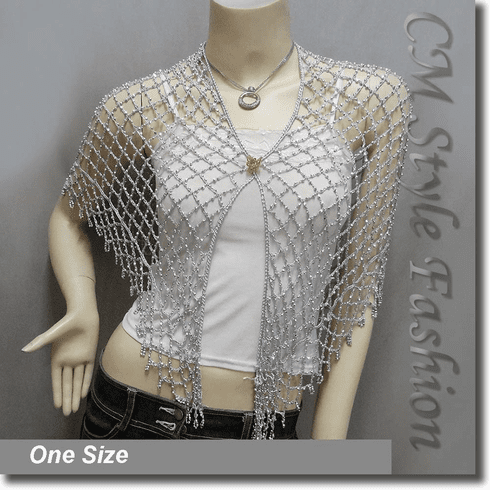 Exotic Crochet Net Triangular Shawl Wrap Shawl Scarf w Beads Gray Silvery