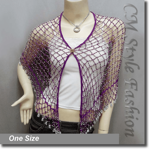 Exotic Crochet Net Triangular Shawl Wrap Shawl Scarf w Beads Purple Silvery
