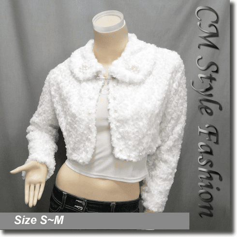 Faux Fur Beaded Cropped Jacket Coat Top White
