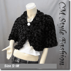 Faux Fur Beaded Cropped Jacket Shrug Coat Top Black