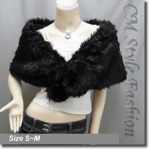 Faux Fur Cape Shawl Wrap Black