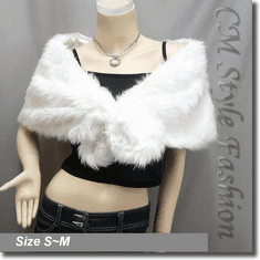 Faux Fur Cape Shawl Wrap Off White