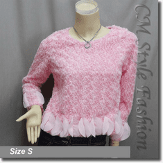 Faux Fur Fluffy Boho Blouse Top Pink