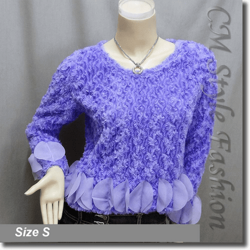Faux Fur Fluffy Boho Blouse Top Purple