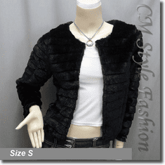 Faux Fur Fluffy Cropped Cardigan Bolero Topper Black