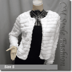 Faux Fur Fluffy Cropped Cardigan Bolero Topper Off White