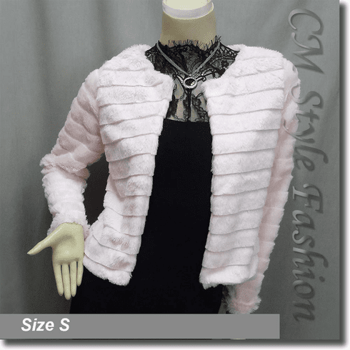 Faux Fur Fluffy Cropped Cardigan Bolero Topper Pink
