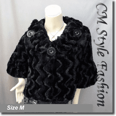 Faux Fur Fluffy Cropped Swing Jacket Coat Top Black