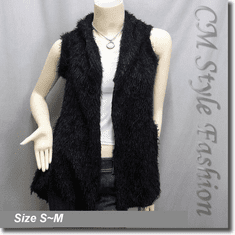 Faux Fur Fluffy Front Open w/ Floral See Through Back Vest Top Black